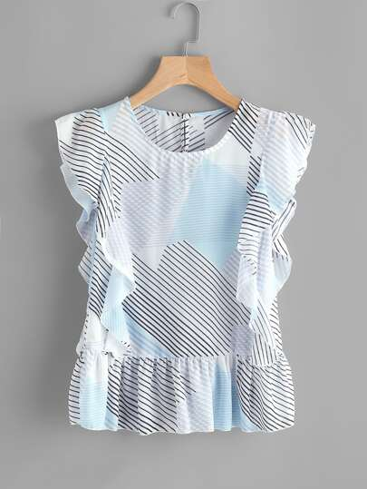 Abstract Stripe Print Frill Trim Blouse