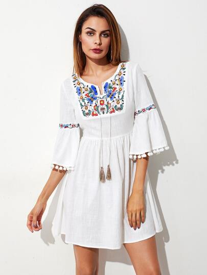 Tasseled Tie Pom Pom Trim Fluted Sleeve Embroidered Dress