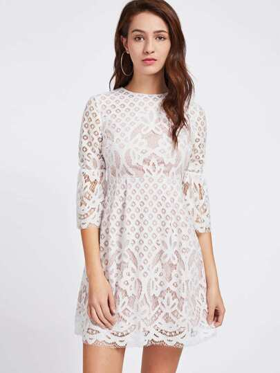 Trumpet Sleeve Lace Overlay High Waist Dress