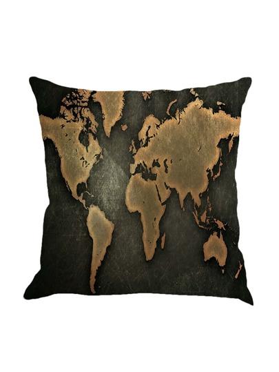 Funda de almohada con estampado de la mapa del mundo