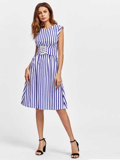 Contrast Vertical Striped Corset Dress