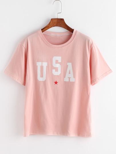 T-shirt rose d\'impression de lettre et d\'étoile