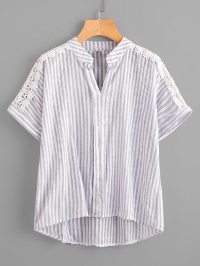 Blusa de rayas en contraste de encaje tejido insertado con bajo asimétrico