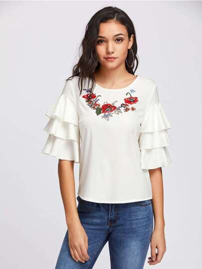 Embroidered Neck Layered Bell Sleeve Top