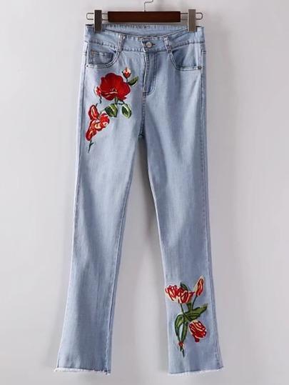 Flower Embroidery Raw Hem Jeans
