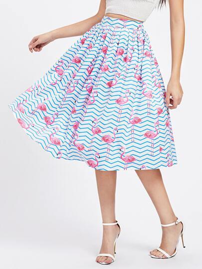 Allover Flamingo Print Umbrella Skirt