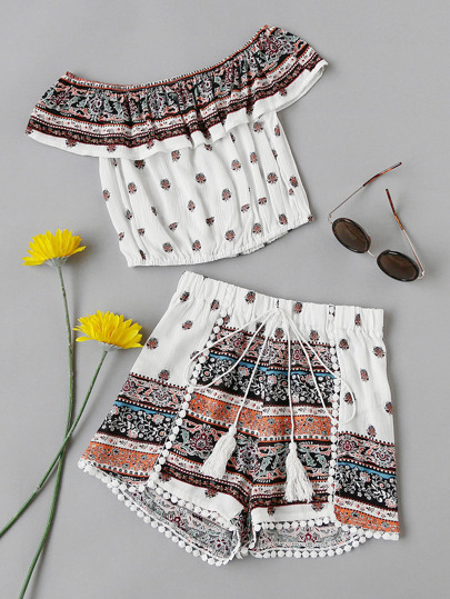 Flounce Layered Neckline Ornate Print Crop Top With Shorts