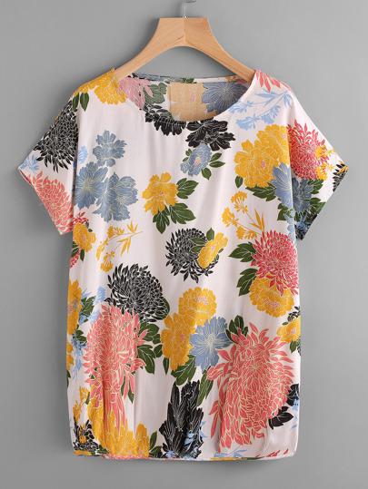 T-shirt floreale con maniche dolman