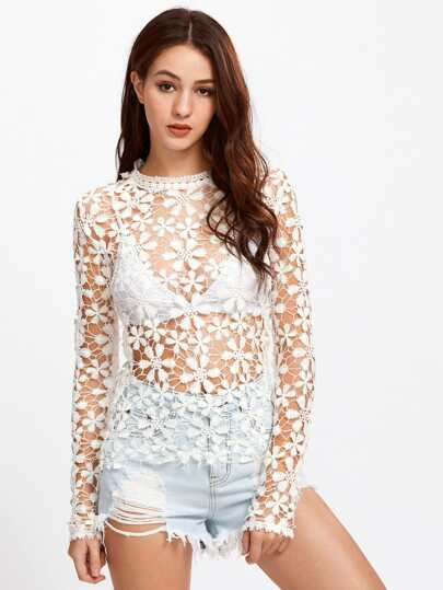 Lace Crochet Cover Up Top