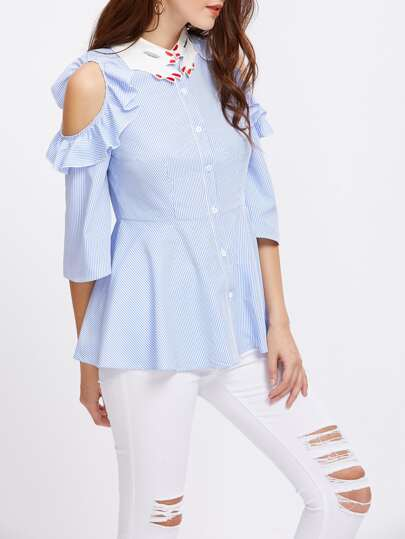 Hand Shape Collar Frill Open Shoulder Fit And Flare Blouse