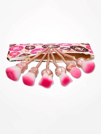 Brosse de maquillage en forme de rose 6 pièces avec sac