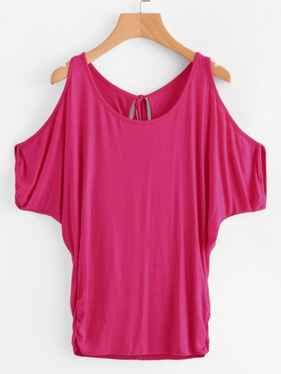 Cold Shoulder Dolman Sleeve Tied Back Tee