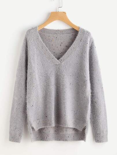 Stepped Hem Fluffy Fleck Jumper