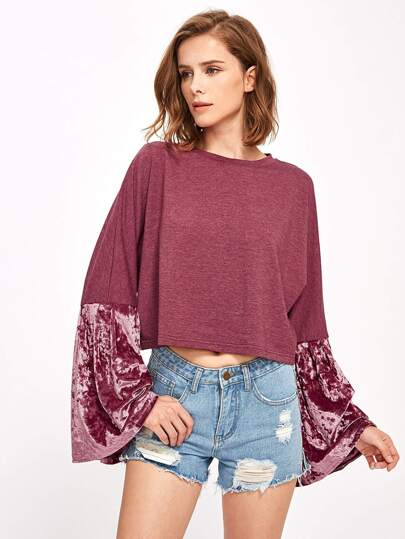 Velvet Bell Sleeve Mixed Media Sweatshirt