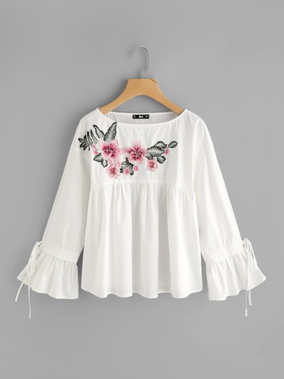 Embroidered Flower Applique Bell Cuff Smock Top