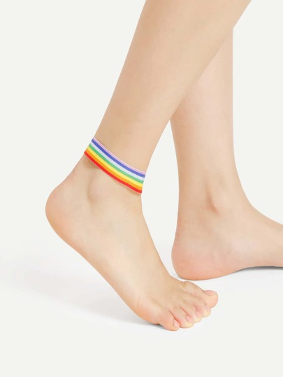 Knitted Rainbow Round Anklet
