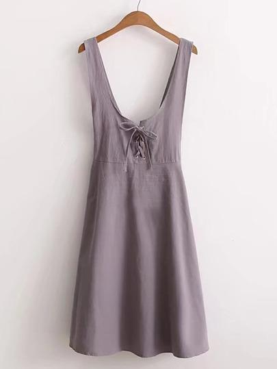 Eyelet Lace Up Backless Dress