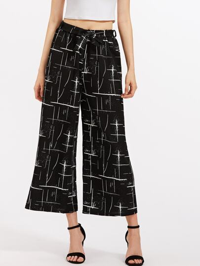 Abstract Print Self Tie Wide Leg Pants