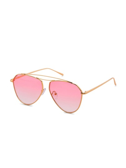 Double Top Bar Oval Lens Sunglasses
