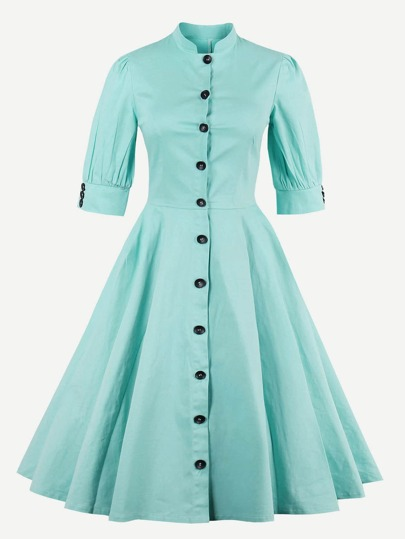 Puff Sleeve Button Front Circle Dress