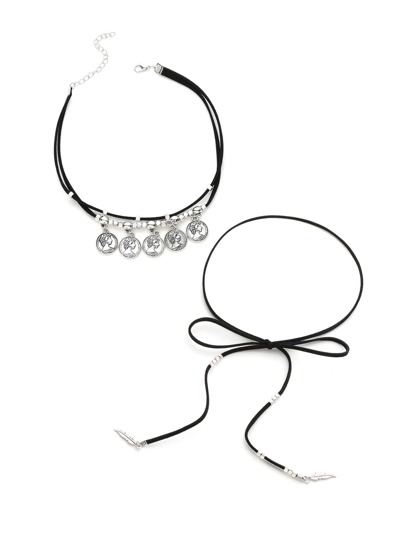 Coin Fringe & Bow Wrapped Choker Set