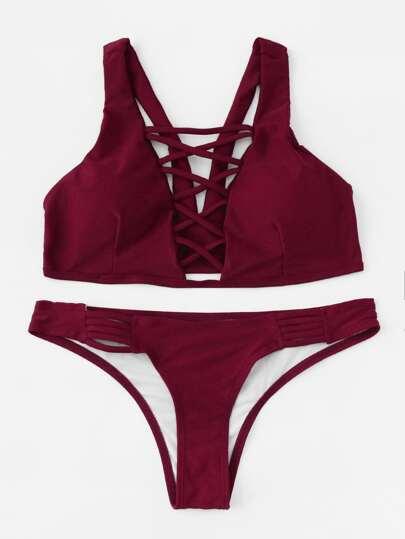Criss Cross Plunge Neckline Bikini Set