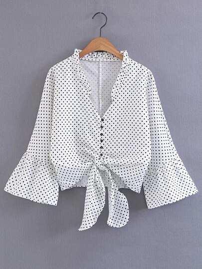 Модная блуза в горошек, рукав клёш