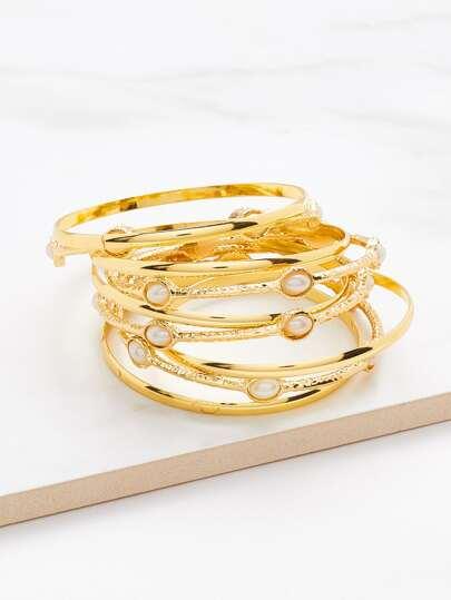 Faux Pearl Embellished Layered Bangle Bracelet