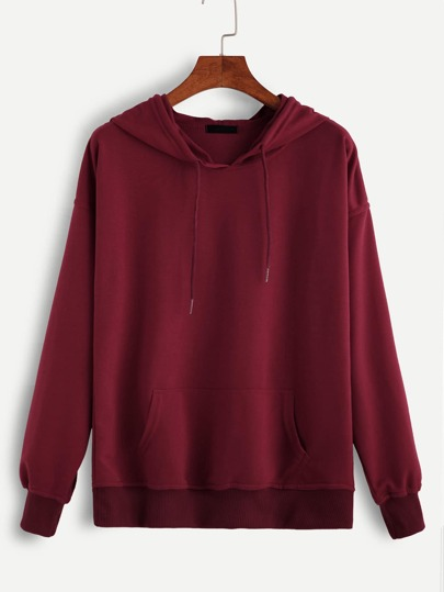 Sweat-shirt en capuche avec lacet - rouge
