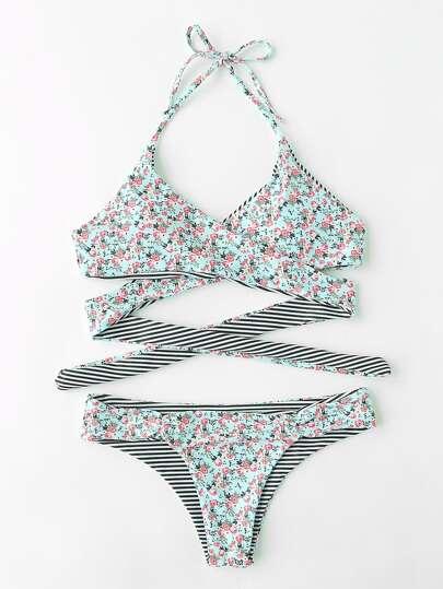 Calico Print Wrap Bikini Set