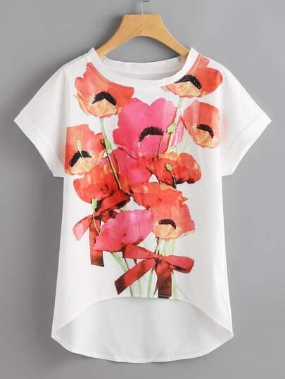 Flower Print Dip Hem Chiffon Top