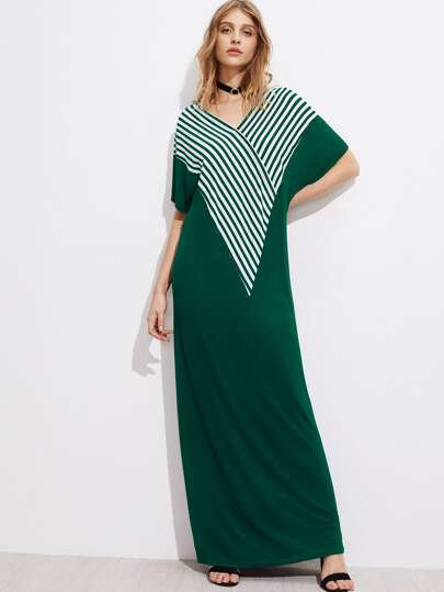 V-neckline Striped Panel Caftan Dress