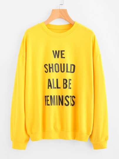 Sweat-shirt imprimé du slogan avec la chute de l\'épaule