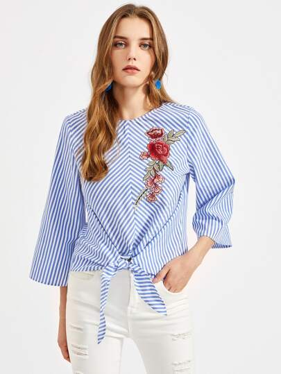 Rose Embroidery Patch Knotted Front Kimono Sleeve Top