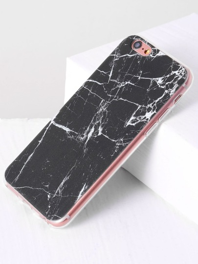 Funda para iphone con estampado de mármol - negro