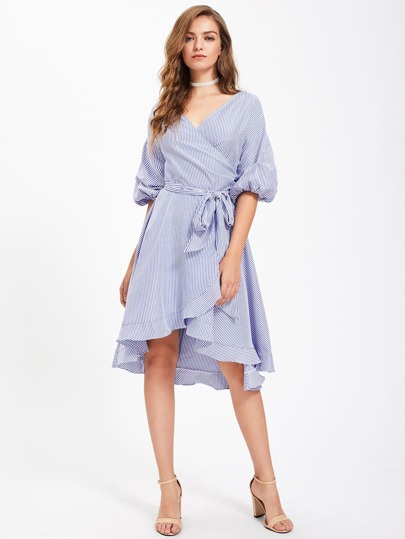 Lantern Sleeve Frill Trim Surplice Wrap Dress