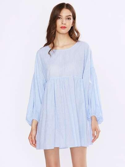Drop Shoulder Lantern Sleeve Smock Dress