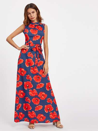 All Over Florals Self Tie Full Length Dress