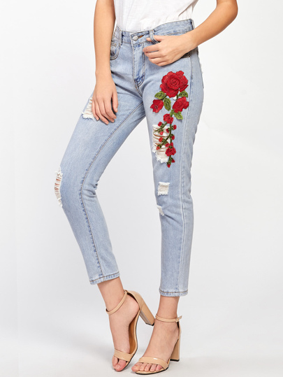 Rose Applique Ripped Jeans