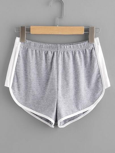Contrast Panel Side Dolphin Hem Shorts