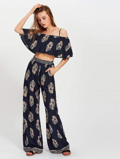 Cold Shoulder Flounce Top And Palazzo Pants Co-Ord