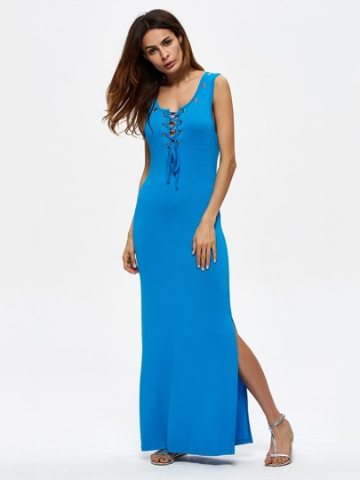 Grommet Lace Up Split Hem Tank Dress