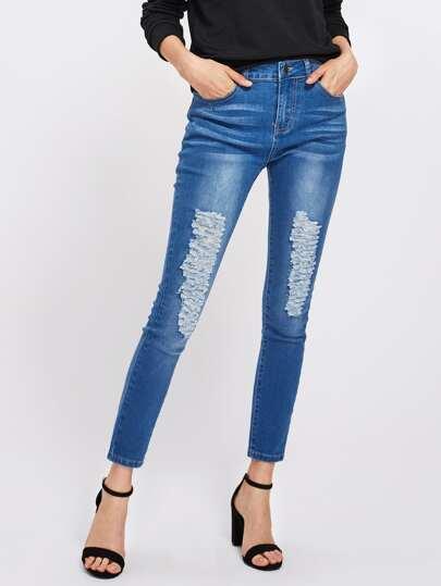 Shredded Rips Detail Jeans