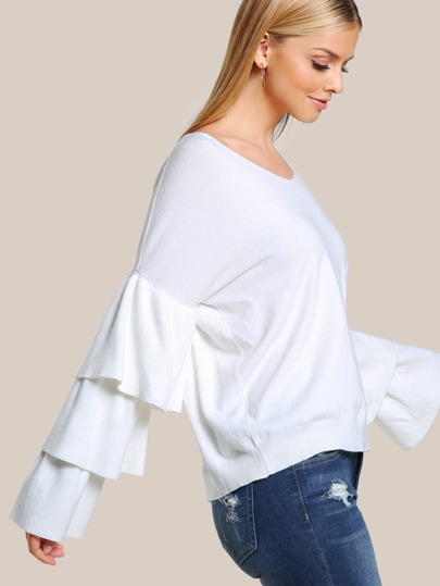 Layered Sleeve Soft Knit Sweater OFF WHITE