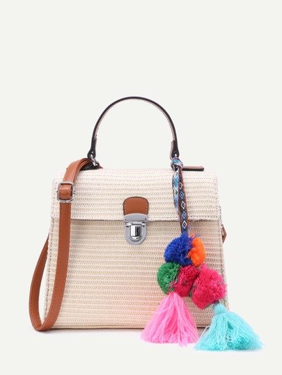 Tassel Detail Pushlock Weave Bag