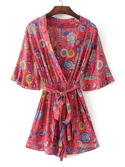 Bell Sleeve Playsuit With Self Tie