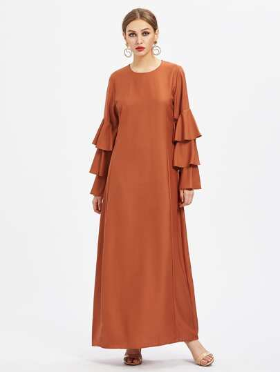 Tiered Flute Sleeve Hijab Evening Dress