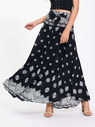 Bow Tie Detail Ornate Print Skirt