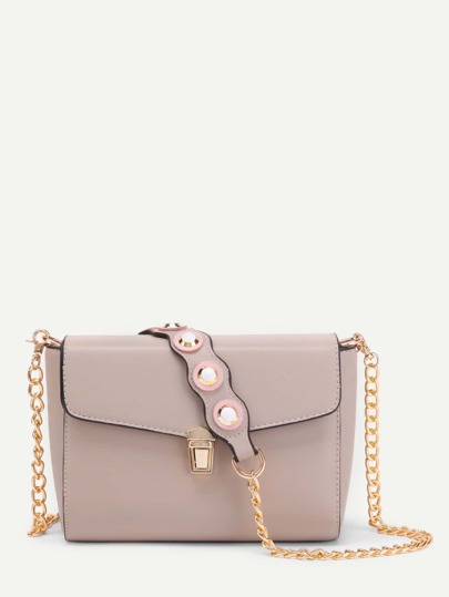 Studded Detail Pushlock PU Chain Bag
