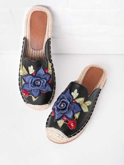 Flower Embroidery Cap Toe Flat Slippers With Rhinestone